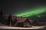 Iridescent Photos - Aurora Borealis Over A Cabin, Northwest by Jiri Hermann