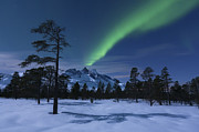 Green Energy Framed Prints - Aurora Borealis Over Nova Mountain Framed Print by Arild Heitmann