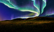 Northern Lights Prints - Aurora On Field Print by Atiketta Sangasaeng