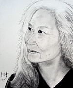 Chinese American Drawings - Author and Activist Maxine Hong Kingston by Jim Fitzpatrick