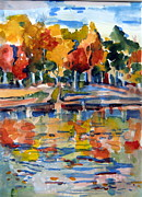 Lake Drawings Framed Prints - Autumn Color Framed Print by Mindy Newman
