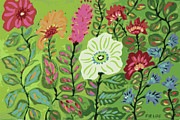 Zinnias Digital Art - Autumn Garden  by Karen Fields