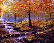 Waterfalls Painting Metal Prints - Autumn in Goldstream Park Metal Print by David Lloyd Glover