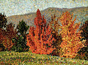 Fallen Leaf Painting Posters - Autumn Landscape Poster by Henri-Edmond Cross