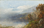 Fishing Painting Prints - Autumn on the Androscoggin Print by William Sonntag