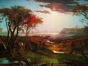 Cropsey Prints - Autumn On The Hudson Print by Pg Reproductions