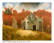 Fall Colors Paintings - Autumn Rustic Barns by Imran Virk