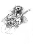 Rock Icon Drawings Posters - B B KING and LUCILLE Poster by David Lloyd Glover