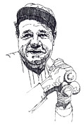 Pen  Drawings - Babe Ruth by John D Benson