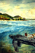 Sea Shore Prints Painting Originals - Back to Culebra Island Puerto Rico by Estela Robles