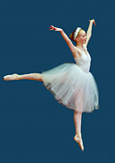 Ballet Prints - Ballerina on Blue Print by Delores Knowles