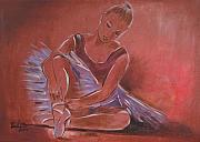 Tutu Mixed Media Posters - Ballerina sitting Poster by Vered Thalmeier