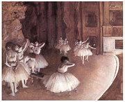 Ballet Dancers Painting Framed Prints - Ballet rehearsal on the Stage Framed Print by Edgar Degas