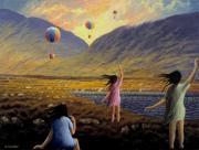 Balloon Children Print by Alan Kenny