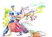 Ballroom Dance Paintings - Ballroom Bliss by Marsden Burnell