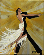 Dancing Couples Paintings - Ballroom Dance by Helen Gerro