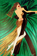 Ballroom Paintings - Ballroom Dancers Champagne Tango by Helen Gerro