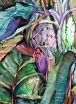 Tropical Mixed Media - Banana Pod by Mindy Newman