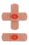 Accident Posters - Bandages with kiss Poster by Blink Images