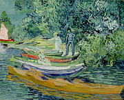 Punting Prints - Bank of the Oise at Auvers Print by Vincent Van Gogh