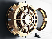 Treasure Box Metal Prints - Bank Vault Door 3d Metal Print by Gualtiero Boffi