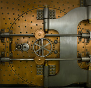 Mercantilism Photo Prints - Bank Vault Door Exterior Print by Adam Crowley