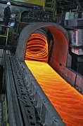 Hot Iron Prints - Bar-rolling Mill Processing Molten Metal Print by Ria Novosti
