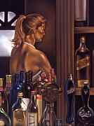 Figures Pastels Prints - Bar Room Print by Glenn Bernabe