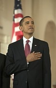 Pledge Of Allegiance Posters - Barack Obama At A Public Appearance Poster by Everett
