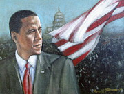 Barack Obama;president;presidential;whitehouse;etc Prints - Barack Obama Print by Howard Stroman