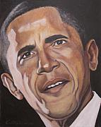 Democrat Painting Framed Prints - Barack Obama Framed Print by Kenneth Kelsoe