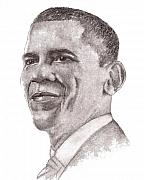 Barack Obama Drawings Prints - Barack Obama Print by Nan Wright