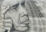44th President Drawings Prints - Barack Obama Print by Stephen Sookoo