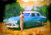 New Car Posters - Barbara and Buick Poster by Chuck Staley