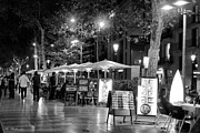 Outdoor Cafes Posters - Barcelona Nights Poster by Arik Baltinester