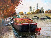 Impressionism Oil Paintings - Barges on the Seine Paris by Roelof Rossouw