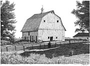 Fences Drawings Prints - Barn 5 Print by Joel Lueck
