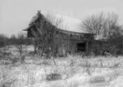 Log Cabins Art - Barn In Rapid Decay by C Wayne Hennebert