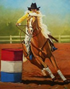 Barrel Paintings - Barrel Race by Lucy Deane