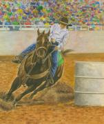 Rodeo Pastels Posters - Barrel Racing Poster by Robert Casilla