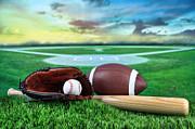 Baseball  Bat  And Mitt In Field At Sunset Print by Sandra Cunningham