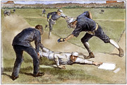 Catcher. New York Framed Prints - Baseball Game, 1885 Framed Print by Granger
