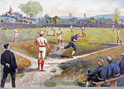 Baseball Game Framed Prints - BASEBALL GAME, c1887 Framed Print by Granger