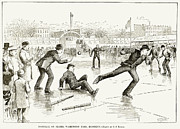 Baseball Player Framed Prints - Baseball On Ice, 1884 Framed Print by Granger