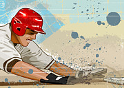 Baseball Helmet Posters - Baseball Player Sliding Into Base Poster by Greg Paprocki