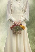 Necklace Photos - Basket With Flowers by Joana Kruse