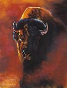 Buffalo Posters - Basking In The Evening Glow Poster by Frances Marino