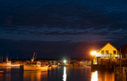 Fishing Village Framed Prints - Bass Harbor at night Framed Print by John Greim