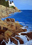 North American Lighthouses - Paintings By Frederic Kohli - Bass Harbor Head Lighthouse by Frederic Kohli