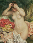 1893 (oil On Canvas) Framed Prints - Bather Arranging her Hair Framed Print by Pierre Auguste Renoir